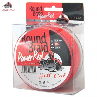 Hell-Cat Splétaná šňůra Round Braid Power Red 0,60mm, 75kg, 200m